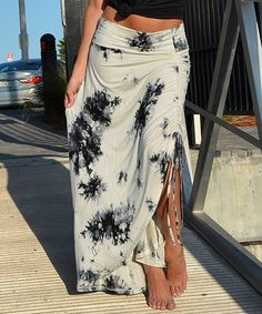 Another great find on #zulily! White Tie-Dye Side-Drawstring Ruched Maxi Skirt #zulilyfinds