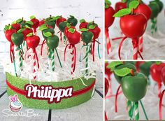 Green and Red apple Cake Pops for a teacher - SmartieBox Cake Studio
