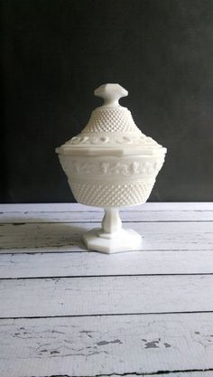 Milk Glass Candy Dish with Lid/ Milk Glass by VintageGlassRevival