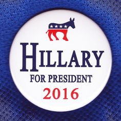 Hillary for President 2016 Button Pin Democratic Party Democrat Clinton Logo