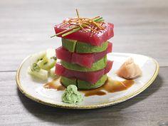 AHI TUNA STACK @ Salt Creek Grille Sashimi Style, Avocado, Cucumber, Wasabi Ginger Soy