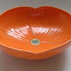 Ceramic Poppy Serving Bowl in Orange by whitneysmith on Etsy, $140.00