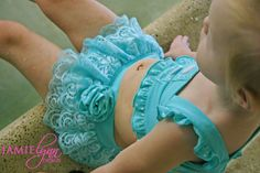 Toddler girls bathing suit with lace