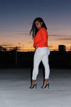 Wearing - Orange Chanel inspired Tweed Jacket by Zara, James Perse Tank, Genetic Denim White Jeans, Balenciaga Sandals Dope Fashion, Black Girl Fashion, Curvy Women Fashion, New Fashion, Classic Fashion, Fashion 2018, Womens Fashion, Beautiful Black Girl, Gorgeous Women