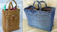 Recycle his clothes to make bags - Geneviève ♥ - - Recycler ses habits pour en faire des sacs Diy Jeans, Denim Bags From Jeans, Artisanats Denim, Denim Tote Bags, Jean Diy, Denim Ideas, Denim Crafts, Couture Sewing, Recycled Denim