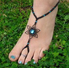 Black with Teal Flower Barefoot Sandals, Slave Anklet, foot jewelry, ankle bracelet with toe ring. $24.00, via Etsy.