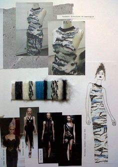 Fashion Sketchbook - textiles for fashion design with pattern & structure experimentation - fashion design & development board; fashion portfolio // Lois Albinson: