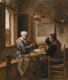 Jan Havicksz. Steen LEIDEN 1626 - 1679 THE PRAYER BEFORE THE MEAL Estimate: 5,000,000 - 7,000,000 GBP signed and dated on the placard on the back wall below the inscription: JAN STEEN 1660