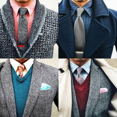 """""""Four great winter outfits from the chap @thedressedchest. Which one do you favour? """""""