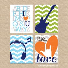 All you Need is Love sign Rock and Roll Nursery Art por PaperRamma