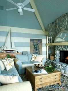 blue stripes living room