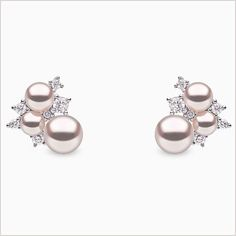 Yoko London Freshwater pearl and diamond earrings, set in white gold. From our Trend collection Pearl And Diamond Earrings, Diamond Studs, Pearl Jewelry, Diamond Pendant, Diamond Jewelry, Gold Jewelry, Jewelery, Fine Jewelry, Indian Jewelry
