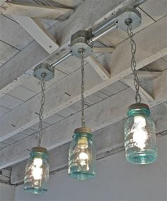 Handcrafted Blue Mason Jar 3Light Tracklight by thebluecabinet, $150.00