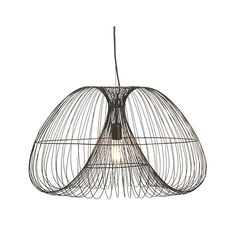"""Cosmo Pendant Light $299  27"""" dia. x 16.5""""H Iron with antique zinc finish Matching 5.25""""-dia. ceiling plate 78"""" black cord tensile wire Hardwire (professional installation recommended) Accommodates up to 13W CFL or 60W incandescent (not included); vintage filament light bulb recommended"""