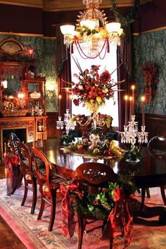 Victorian dining room dressed for the holidays.