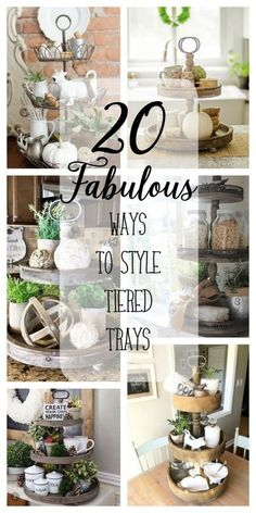 20 fabulous ways to style tiered trays country farmhouse decor, primitive kitchen, bookcase, Diy Home Decor Rustic, Country Farmhouse Decor, Country Kitchen, Farmhouse Style, Rustic Style, Primitive Kitchen, Country Homes, Cottage Style, Tiered Stand