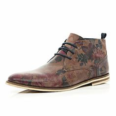 Brown floral print chukka boots £65.00