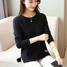 cb124eb954 New Spring Korean Short All-Match Winter Sweater Knitted Shirt With Long  Sleeves Loose Women Sweater Pullover