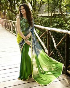 Green Georgette Saree saree-green-blouse-green6115