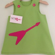 Tatty Rose Original Lime Green and Pink Guitar Pinafore Dress BABY 0-24 months
