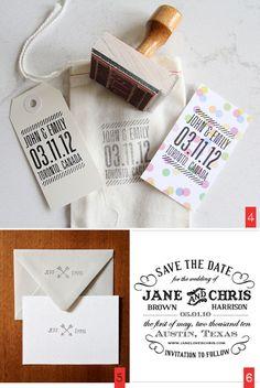 Pourquoi ne pas rajouter un coup de tampon, dans un style homemade, aux faire-part et aux invitations, avec vos portraits, vos initiales ou un petit mot.