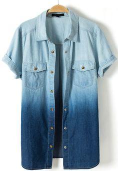 Blue Gradient Short Sleeve Pockets Denim Blouse - Sheinside.com