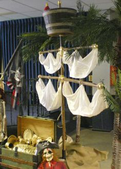 I could down size something like this. Get a few bamboo rods from my mom's house. Cut and dry them. Tie with twin and add sheets! Cute idea :) - idea for pirate role play