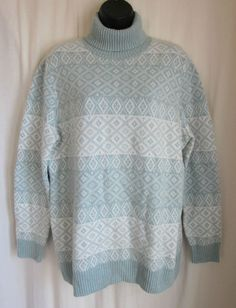 LANDS END Women's Mint Green Ivory LAMBSWOOL Blend Ski Sweater L Large 14 -16 #LandsEnd #TurtleneckMock