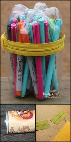 Here's a great idea for when you or the kids need a new pencil case.  Make one from plastic a soda bottle instead of buying from the bookstore! You can also use this for other arts and crafts supplies, accessories such as bracelets, lego pieces, candies or even lunch to take to school!  Learn how to make this pencil case by heading over to our site at  http://theownerbuildernetwork.co/vtge