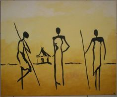 TABLEAU PEINTURE Village Afrique Personnages Acrylique - Village africain