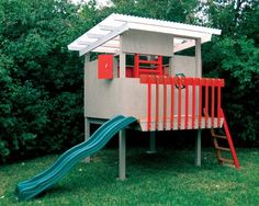Modern playhouse plans 167 Modern Playhouse Products You May Like Imagine a thoroughly modern playhouse full of kid friendly features and free Modern Playhouse, Build A Playhouse, Playhouse Outdoor, Playhouse Ideas, Simple Playhouse, Cubby Houses, Play Houses, Casa Patio, Mid Century House