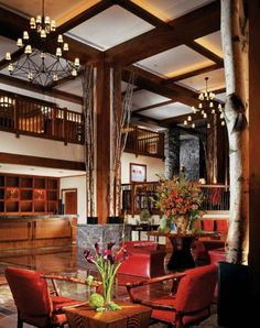 Gorgeous lobby at Stowe Mountain Lodge photo: Michael Wilson