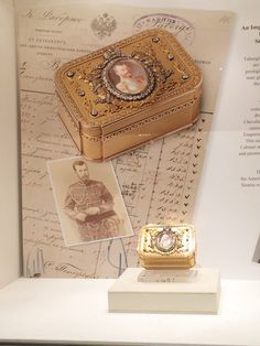 THE ROMANOV JEWELRY ~ Wartski displayed an Imperial gold portrait presentation case centered by an oval portrait miniature of Tsar Nicholas II. The case was presented by the Tsar to Secretary of State Nikolai Mansurov and was later owned by Frank Sinatra, a Fabergé collector and frequenter of Wartski ~