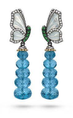 Zen Garden Butterfly Earrings – White Mother of Pearl, Diamond, Tsavorite & London Blue Topaz
