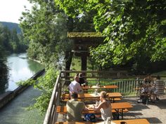 The Gasthaus zur Mühle at the River Isar 20km south of Munich. The beer garden is situated next to Europe's longest raft-slide.