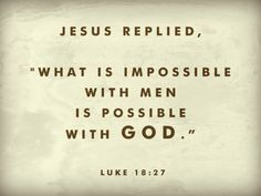 """Jesus replied, """"What is impossible with men is possible with God."""""""