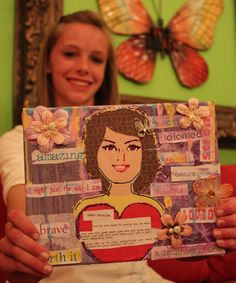 """"""" Canvases -- really awesome idea! This would be a great Young Women activity--especially for a mother or father/daughter bonding night A cute mixed media project Mutual Activities, Bonding Activities, Young Women Activities, Camping Activities, Church Activities, Time Activities, Mother Daughter Crafts, Mother Daughter Activities, Father Daughter"""