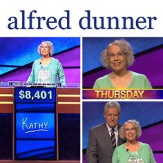 On July 9, 2015, Kathy Riley wore an Alfred Dunner High Tea outfit on Jeopardy. She won $8,401-- talk about smart fashion! #alfreddunner #jeopardy #fashion #style #smartfashion #green #mintgreen #win #winner #styleatacertainage
