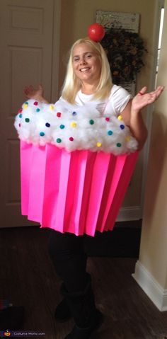 I am wearing the costume. I wanted to try to make my first diy costume and have never seen anyone dressed as a cupcake. I LOVE CUPCAKES! I used a plastic tub with handles and cut the bottom off, three pieces of hotpink poster board. Photo 2 of Cupcake Halloween Costumes, Cupcake Costume, Diy Halloween Costumes For Women, Halloween Costume Contest, Christmas Costumes, Cute Halloween, Halloween Crafts, Halloween Ideas, Cookie Costume