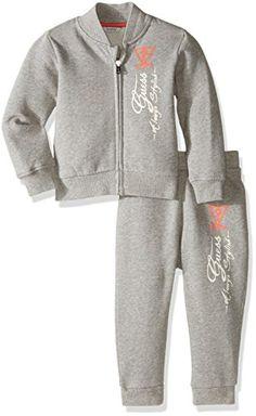 c1622b4d6 GUESS Baby Boys Cotton Fleece Jacket and Pant Set Light Heather Grey 18  Months **