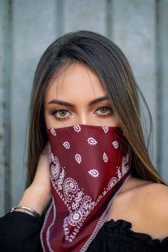 Photo Of Woman Wearing Red Bandana · Free Stock Photo How To Wear Bandana, Bandana Girl, Ideas Bandana, Bandana Styles, Diy Mask, Diy Face Mask, Face Masks, Girl Face, Woman Face