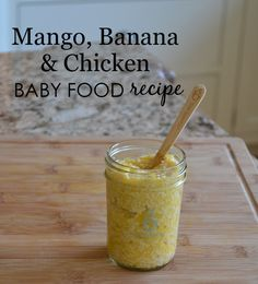 Stage Two Baby Food Recipe: Mango, Banana and Chicken Baby Food {super-healthy recipe from @sagespoonfuls}