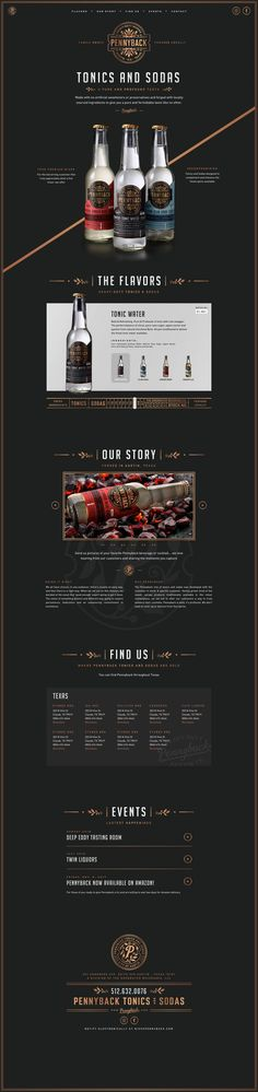 Pennyback Tonics and Sodas Website designed by The Forefathers Group. Connect with them on Dribbble; the global community for designers and creative professionals. Web Layout, Layout Design, Template Web, Web Design Examples, Page Web, Ui Web, Landing Page Design, Website Design Inspiration, Showcase Design