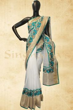 White silk kota saree with lovley flower border-BB420547 class=