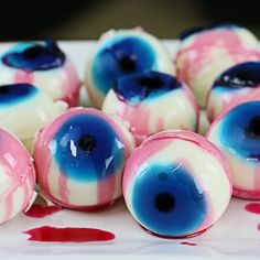 These super sweet and tasty 'Eyeball Jello Shots' are perfect for Halloween or any kind of spooky party.