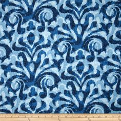 Duralee Davi Damask Blue from @fabricdotcom  Screen-printed on a cotton blend fabric, this versatile medium weight fabric is perfect for window treatments (draperies, valances, curtains and swags), toss pillows, duvet covers, pillow shams, slipcovers and upholstery. Colors include shades of blue.