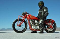 Indian Motorcycle on the Bonneville Salt Flats in Utah.