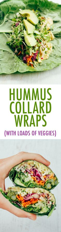 These easy and healthy veggie packed hummus collard wraps are perfect for light lunch, appetizer or snack. Vegan and gluten-free. Made in partnership with /sabradippingco/.