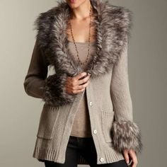 Romeo & Juliet Fur Trim Cardigan Brand New with Tags,  Romeo & Juliet faux Fur Tie Waist Cardigan, Color: Grey; Fits True to Size Keep Cozy, Chic and Warm this Winter! Romeo & Juliet Couture Sweaters Cardigans
