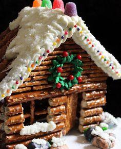 Pretzel Christmas Log Cabin~awesome!!
